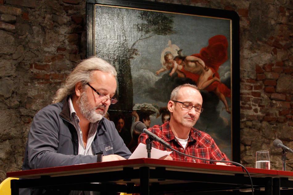 Roland Köhler und Horst Hahn bei der wortwerk - Präsentation